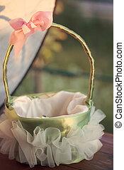 cesta, menina, flor, casório