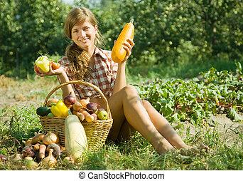 cesta, menina, legumes