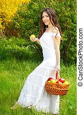 cesta, menina, vestido branco, maçãs
