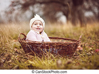 cesta, menininha, feliz