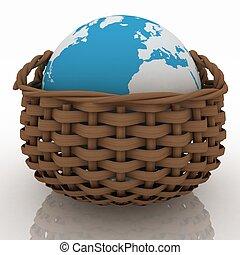 cesta, mimbre, contener, globo