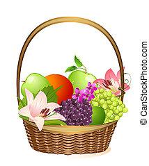 cesta, mimbre, flores, fruta