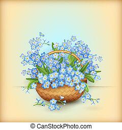 cesta, mimbre, flores, vector