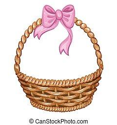 cesta, mimbre, ilustración