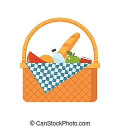 cesta, mimbre, picnic