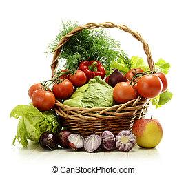 cesta, mimbre, vegetales, composición, crudo