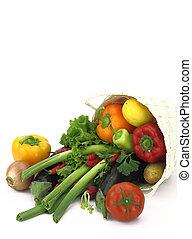 cesta, mimbre, vegetales, lleno, fresco