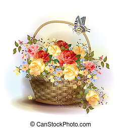 cesta, mimbre, victoriano, roses., style.