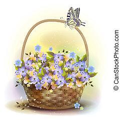 cesta, mimbre, victoriano, style., violets.