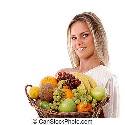 cesta, mulher, atraente, cheio, frutas