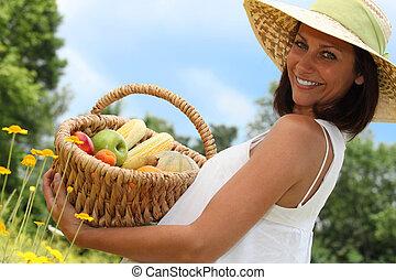 cesta, mulher, fruta
