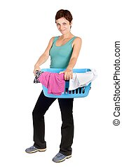 cesta, mulher, lavanderia, segurando