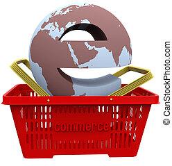 cesta, mundo, compras, ecommerce