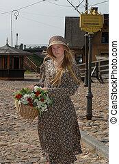 cesta, niña, flores