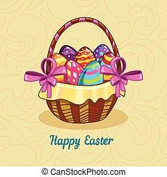 cesta, ovos, páscoa, cartão