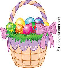 cesta, ovos, páscoa, coloridos