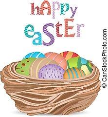 cesta, ovos, páscoa, feliz