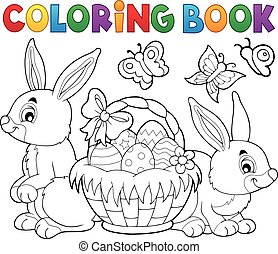 cesta, páscoa, coloração, coelhos, livro