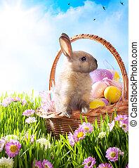 cesta páscoa, com, ovos decorados, e, a, bunny easter