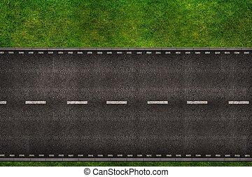 cesta, přes, ilustrace