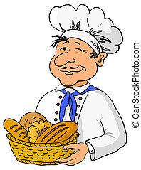 cesta, panadero, bread