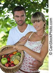 cesta, par, fruta, parque, jovem