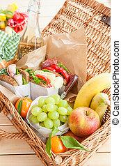 cesta, picnic, llenado