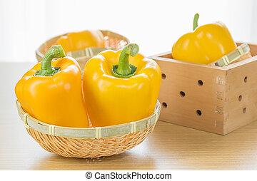 cesta, pimentas, fresco, amarela, sino