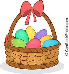 cesta, pintado, ovos, páscoa