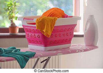 cesta, plegable, lavadero