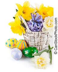 cesta, primavera, ovos, flores, páscoa