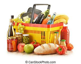 cesta, produtos, shopping mantimento, composição