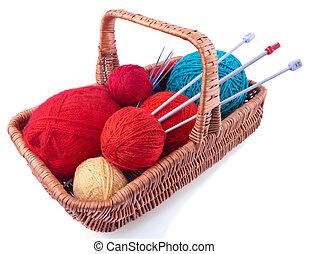 cesta, retangular, tricotando, equipamento