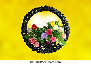 cesta, rosa, fundo amarelo