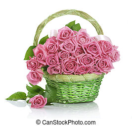cesta, rosas, ramo