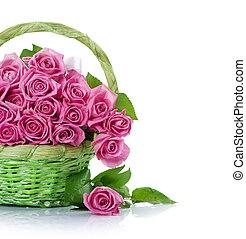 cesta, rosas