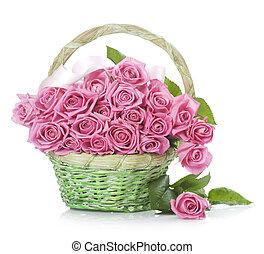 cesta, rosas, valentine