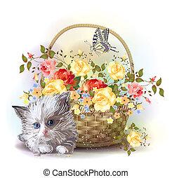 cesta, rosas, velloso, ilustración, gatito