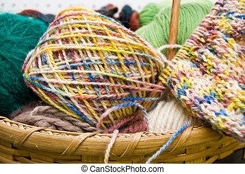 cesta, tejido de punto