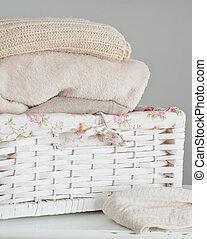 cesta, tricotando, roupas
