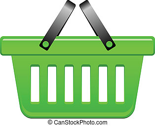 cesta, vector, verde, ilustración