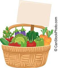 cesta vegetal, colheita, tábua, ilustração