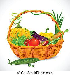 cesta, vegetales, lleno