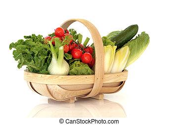 cesta, verduras frescas, ensalada