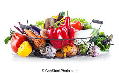 cesta, verduras frescas