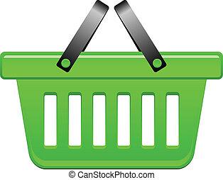 cesta, vetorial, verde, ilustração