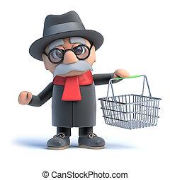 cesta, viejo, compras, 3d