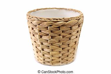cesta, vime, branca, tecido, fundo