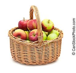 cesta, vime, cheio, maçãs