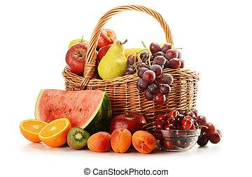 cesta, vime, frutas